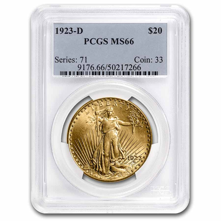 1923-D $20 St. Gaudens Gold Double Eagle MS-66 PCGS