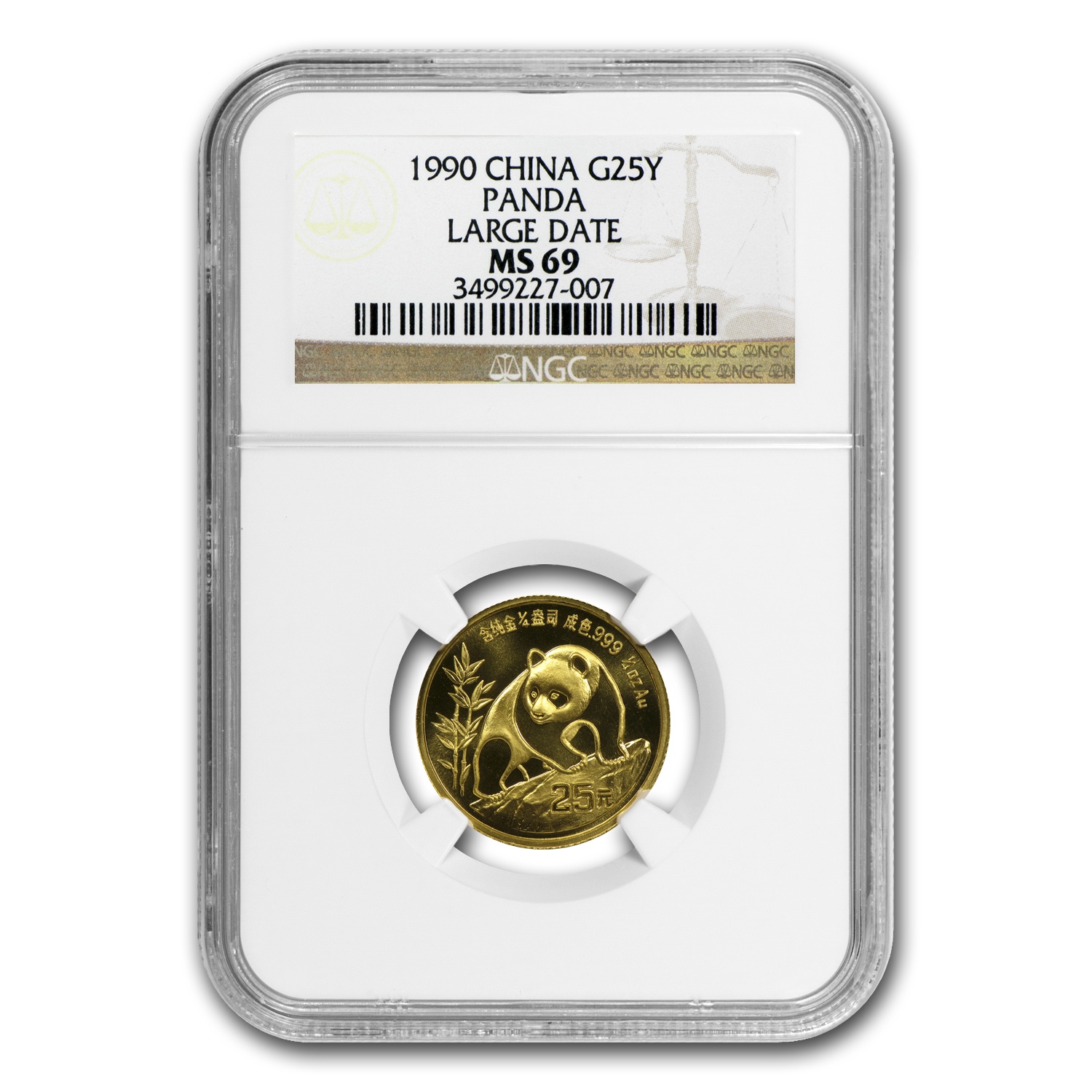 1990 (1/4 oz) Gold Chinese Pandas - Large Date MS-69 NGC