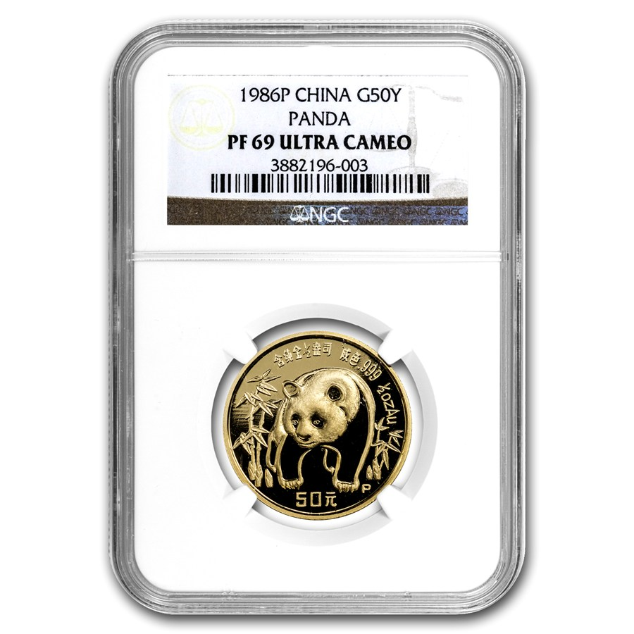 1986 china 1 2 oz proof gold panda pf 69 ngc gold value. Black Bedroom Furniture Sets. Home Design Ideas