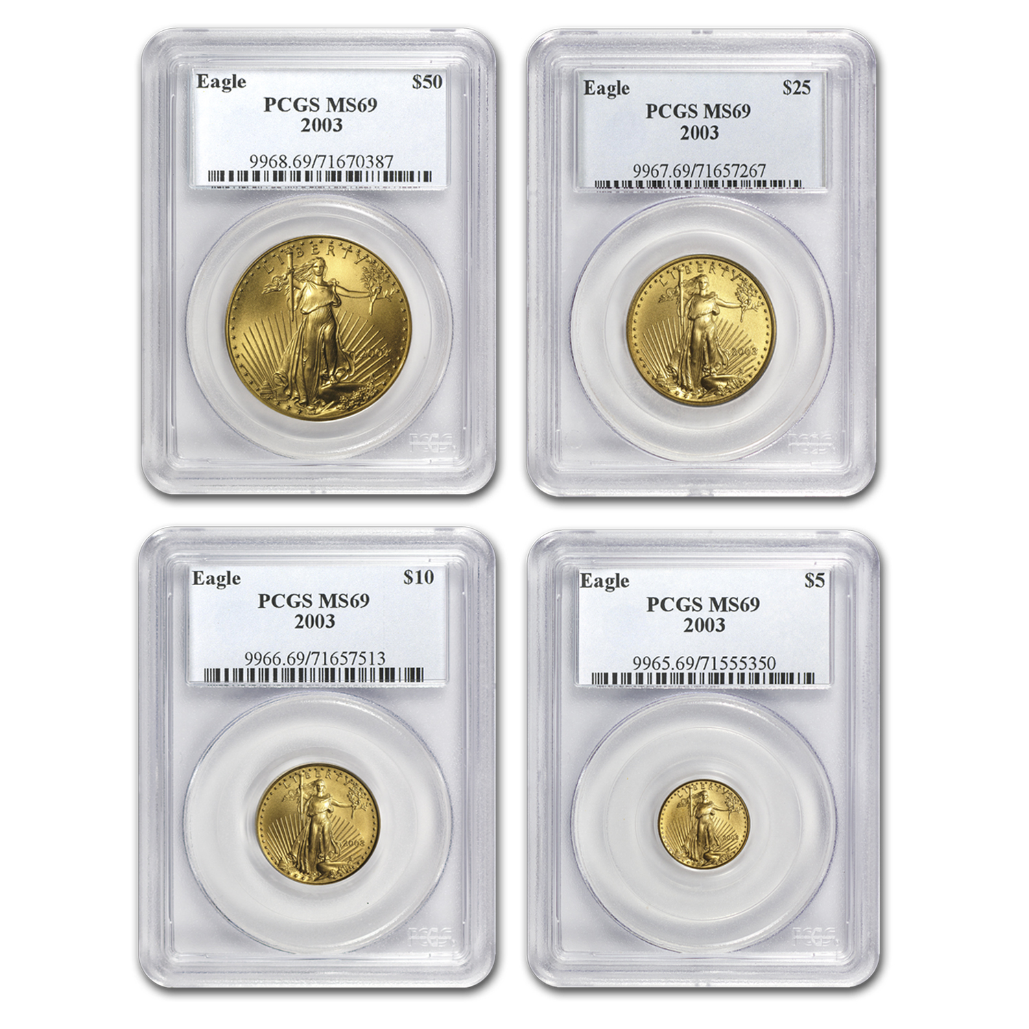 2003 4-Coin Gold American Eagle Set MS-69 PCGS