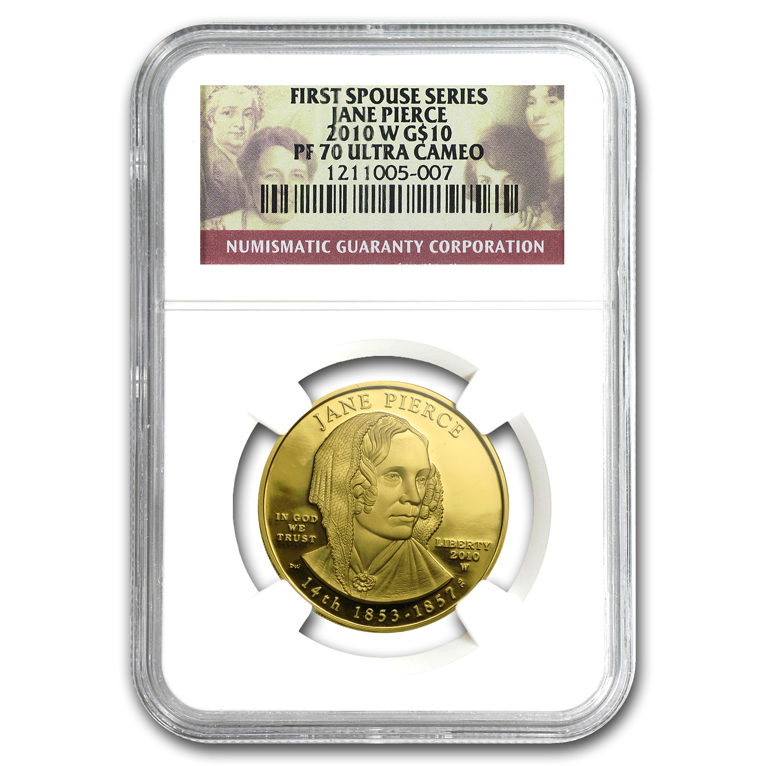 2010-W 1/2 oz Proof Gold Jane Pierce PF-70 NGC UCAM