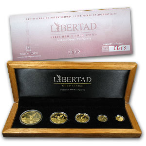 2010 Mexico 5-Coin Gold Libertad Proof Set (1.9 oz, Wood Box)