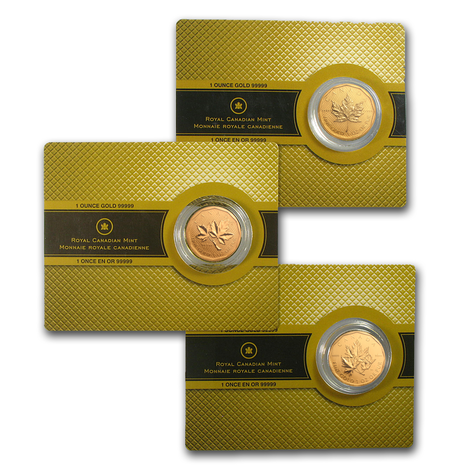 3-Coin .99999 Fine Gold Canadian Maple Leaf Set 2007-2009