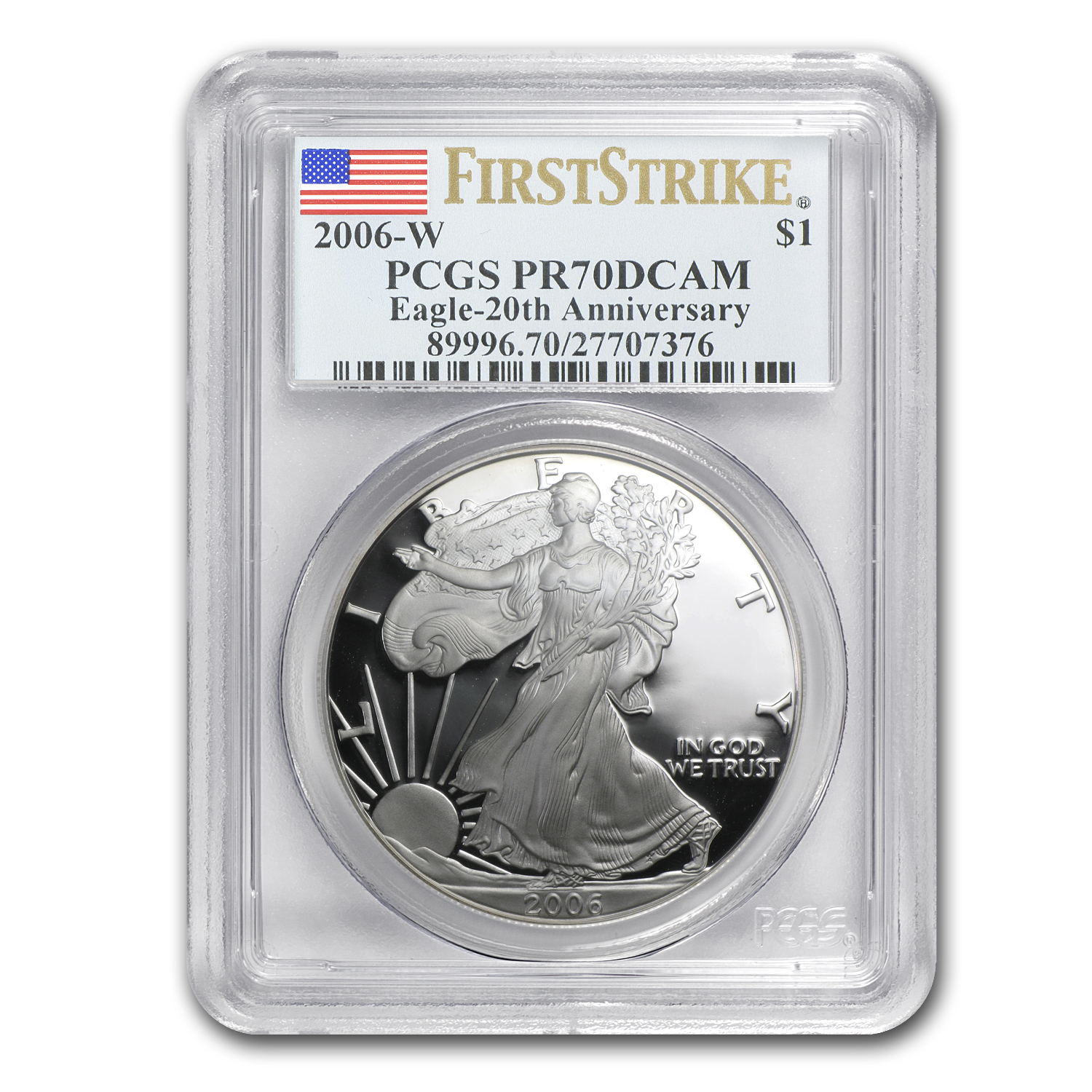 2006-W 3-Coin Silver Eagle Set MS/PR-70 PCGS (FS)