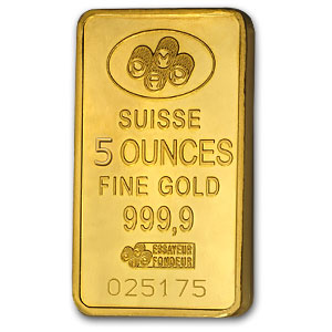 5 oz Gold Bars - Pamp Suisse (w/o assay)