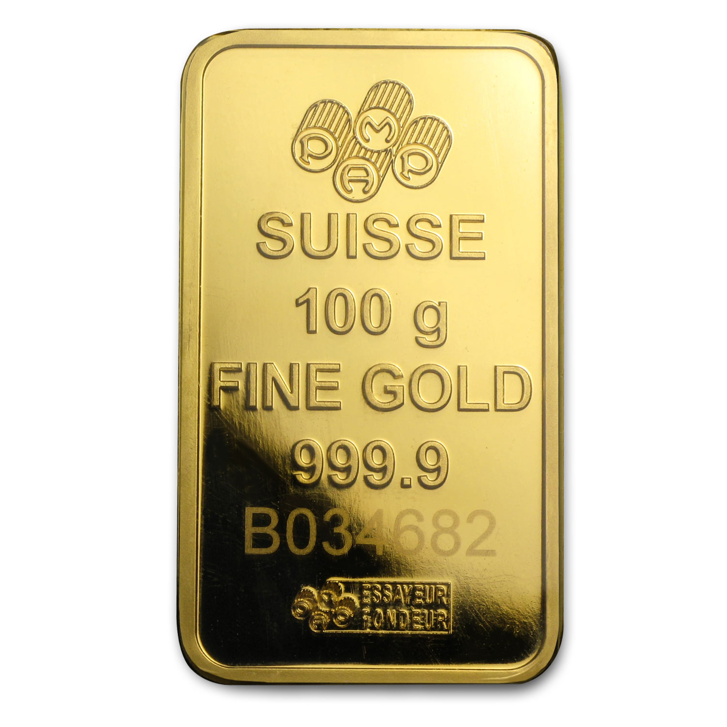 100 gram Gold Bar - Pamp Suisse (Pressed, in Assay)