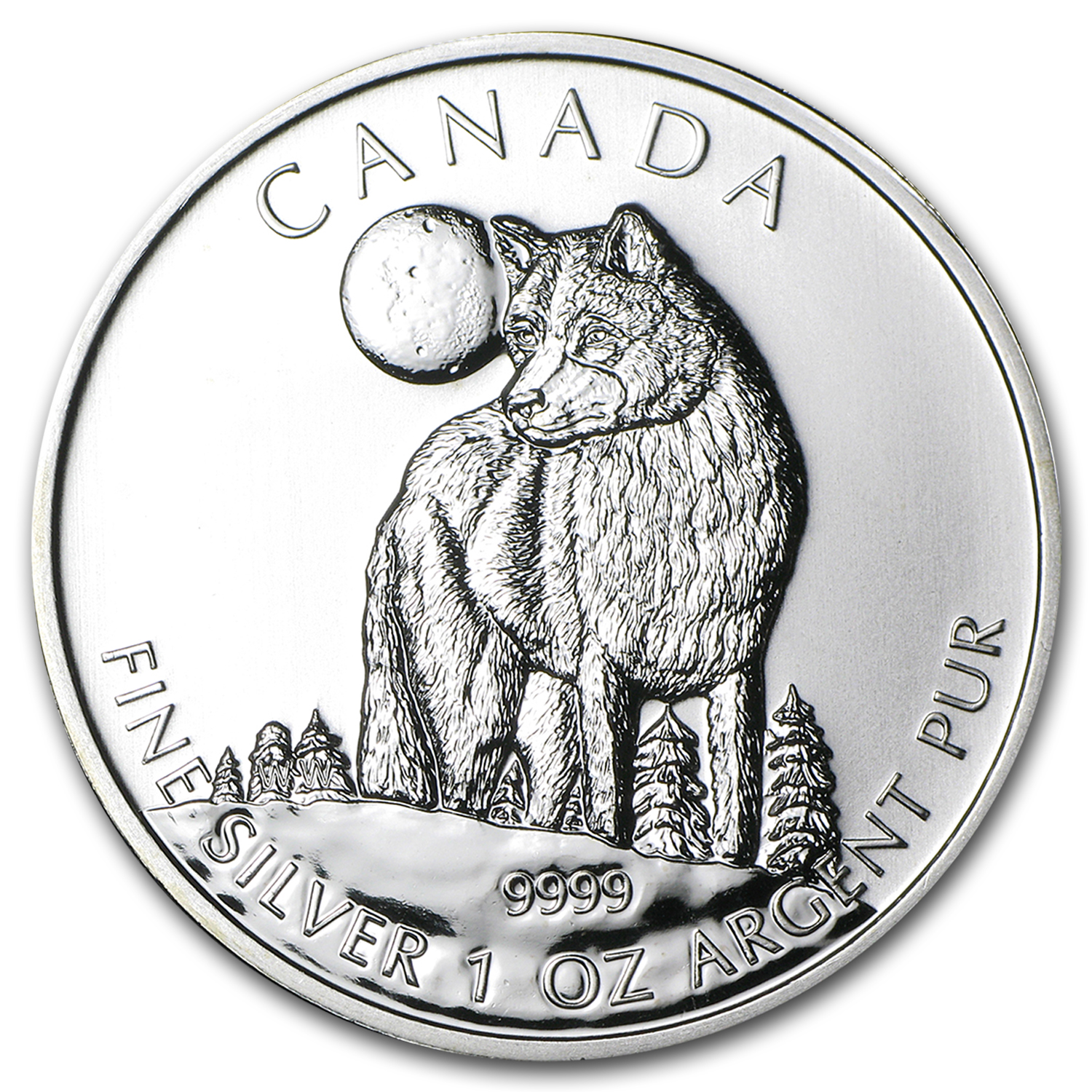 2011 1 oz Silver Canadian Wildlife Series Wolf