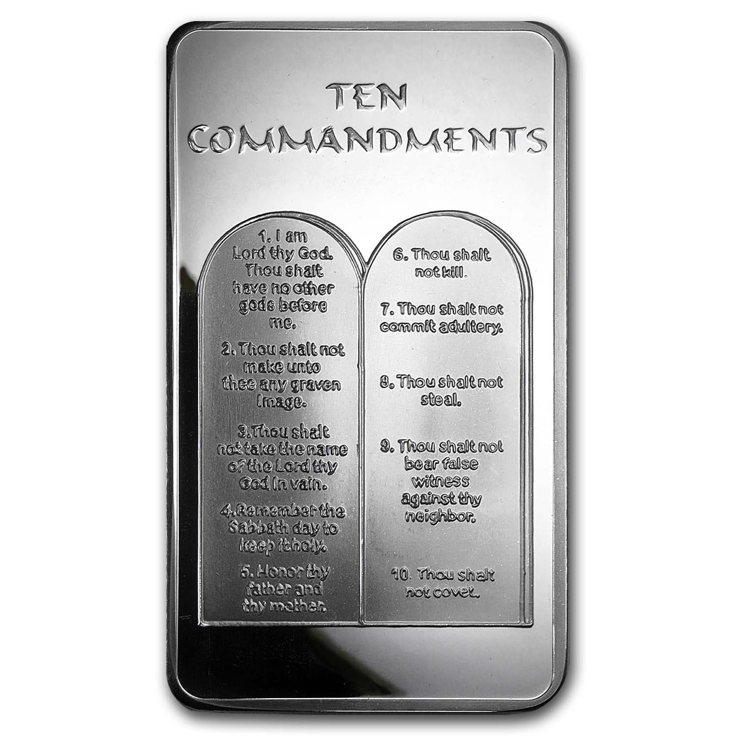 10 oz Silver Bar - Ten Commandments