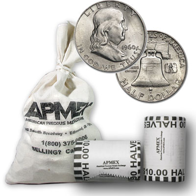 90% Silver Franklin Halves - $100 Face-Value Bag (BU)