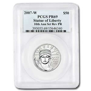 2007-W 1/2 oz Reverse Proof Platinum Eagle PR-69 PCGS (10 Anniv)