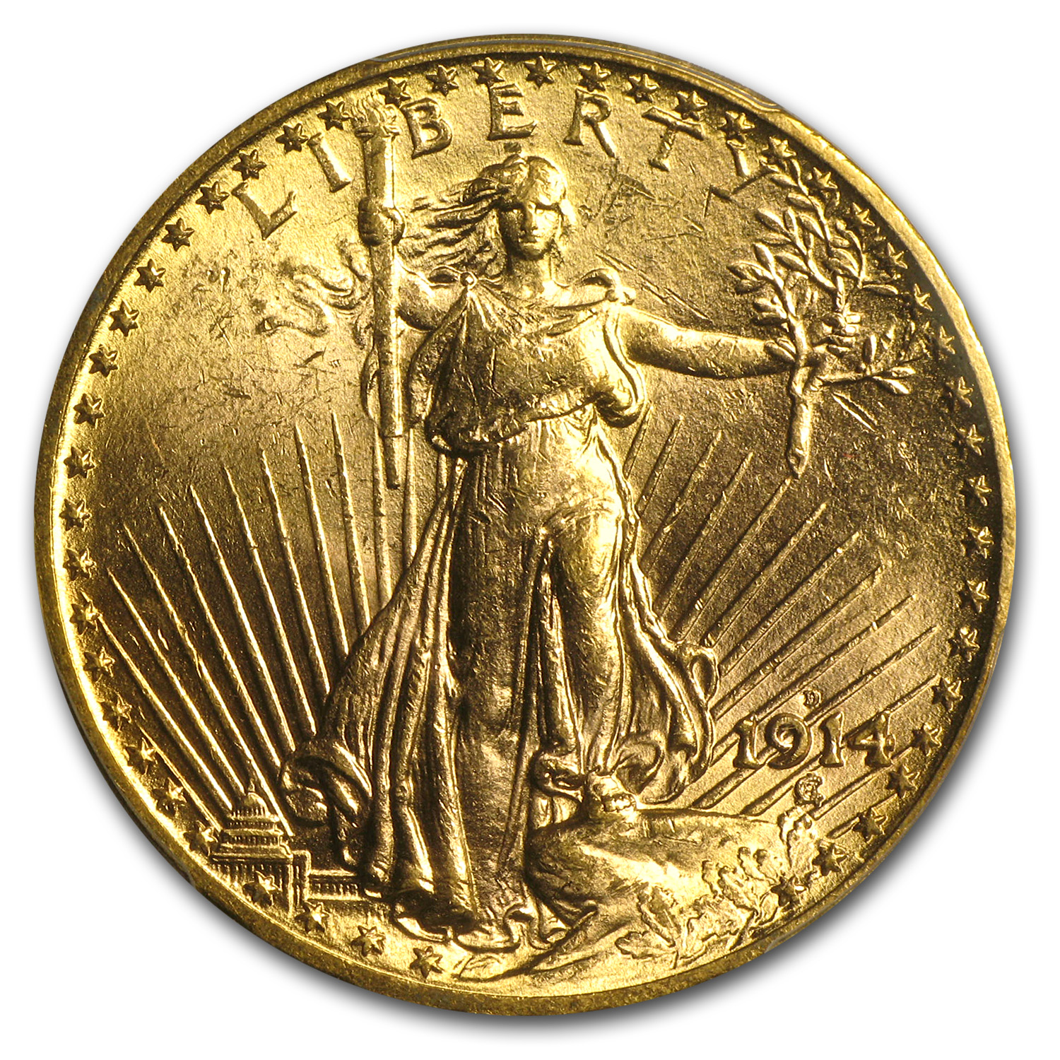 1914-D $20 St. Gaudens Gold Double Eagle - MS-63 PCGS