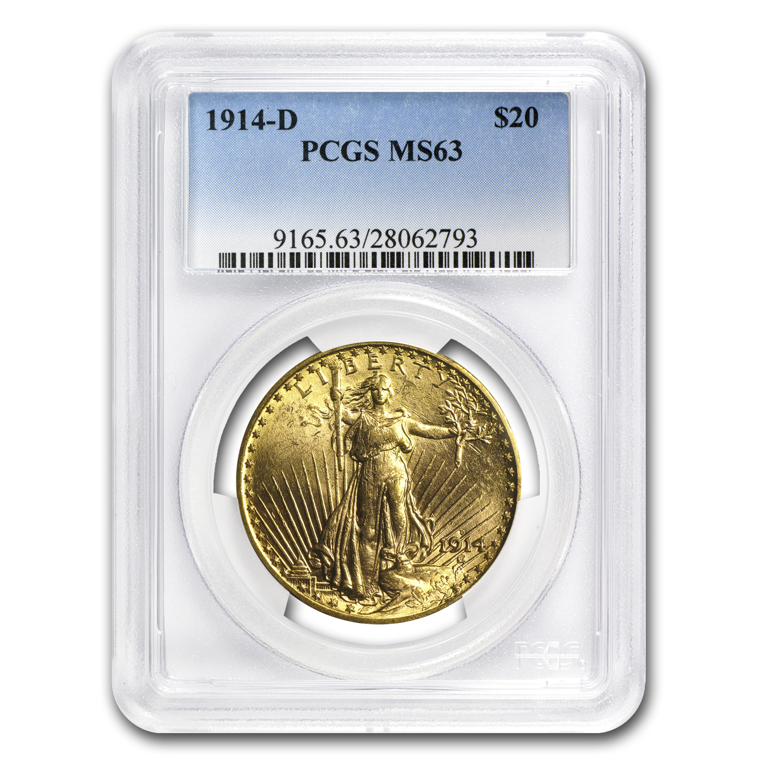 1914-D $20 St. Gaudens Gold Double Eagle MS-63 PCGS