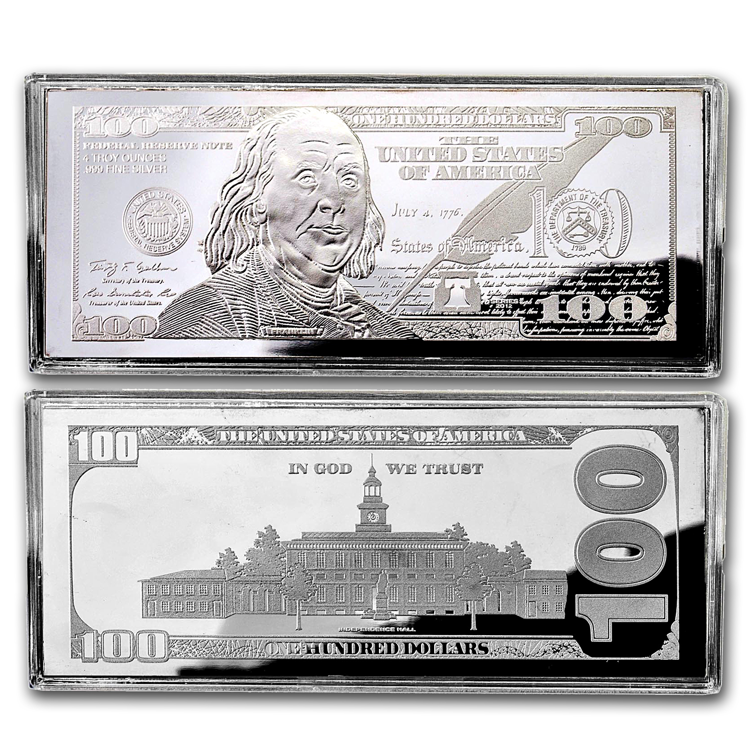 4 oz Silver Bars - 2012 $100 Bill (W/Box & COA)