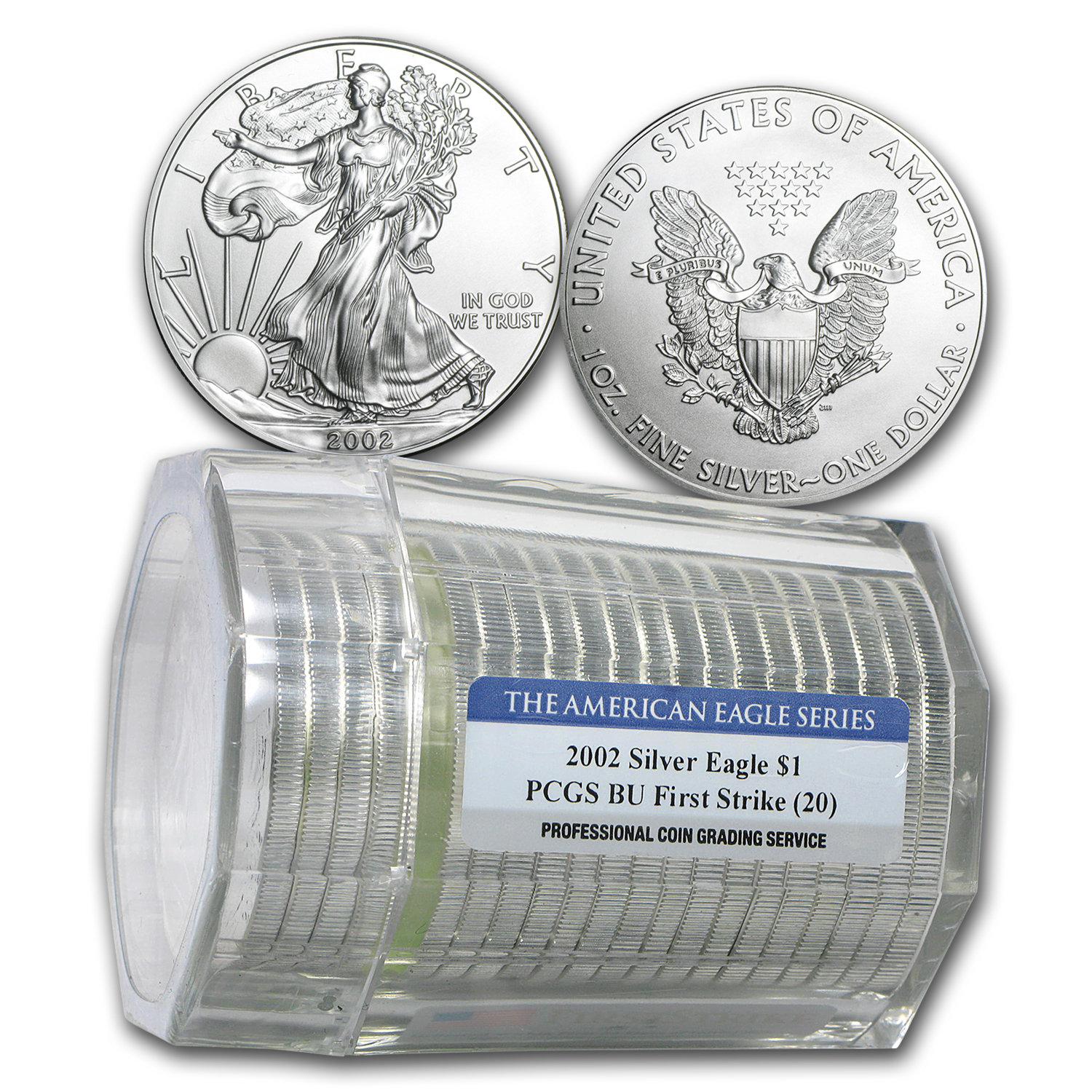 2002 20-Coin Silver American Eagle Sealed Tube PCGS