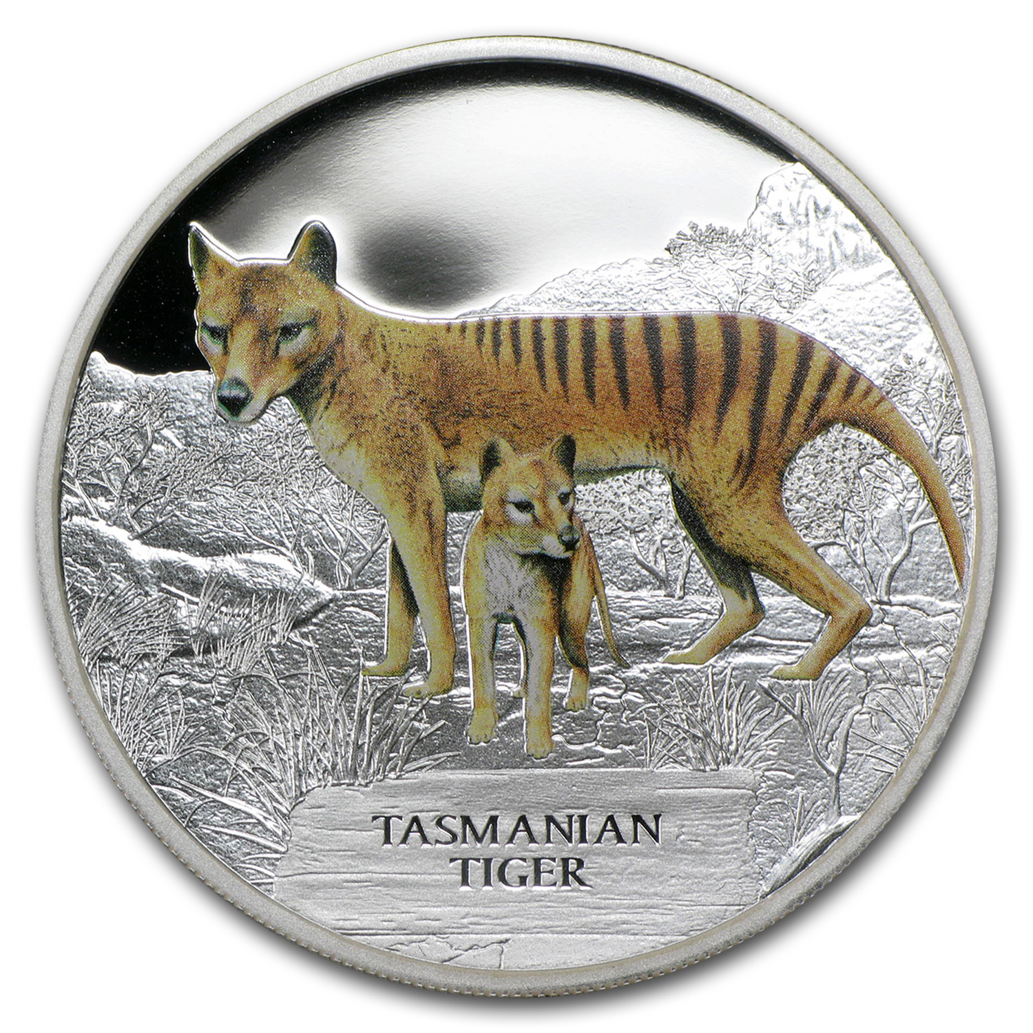 2011 Tuvalu 1 oz Silver Tasmanian Tiger Proof