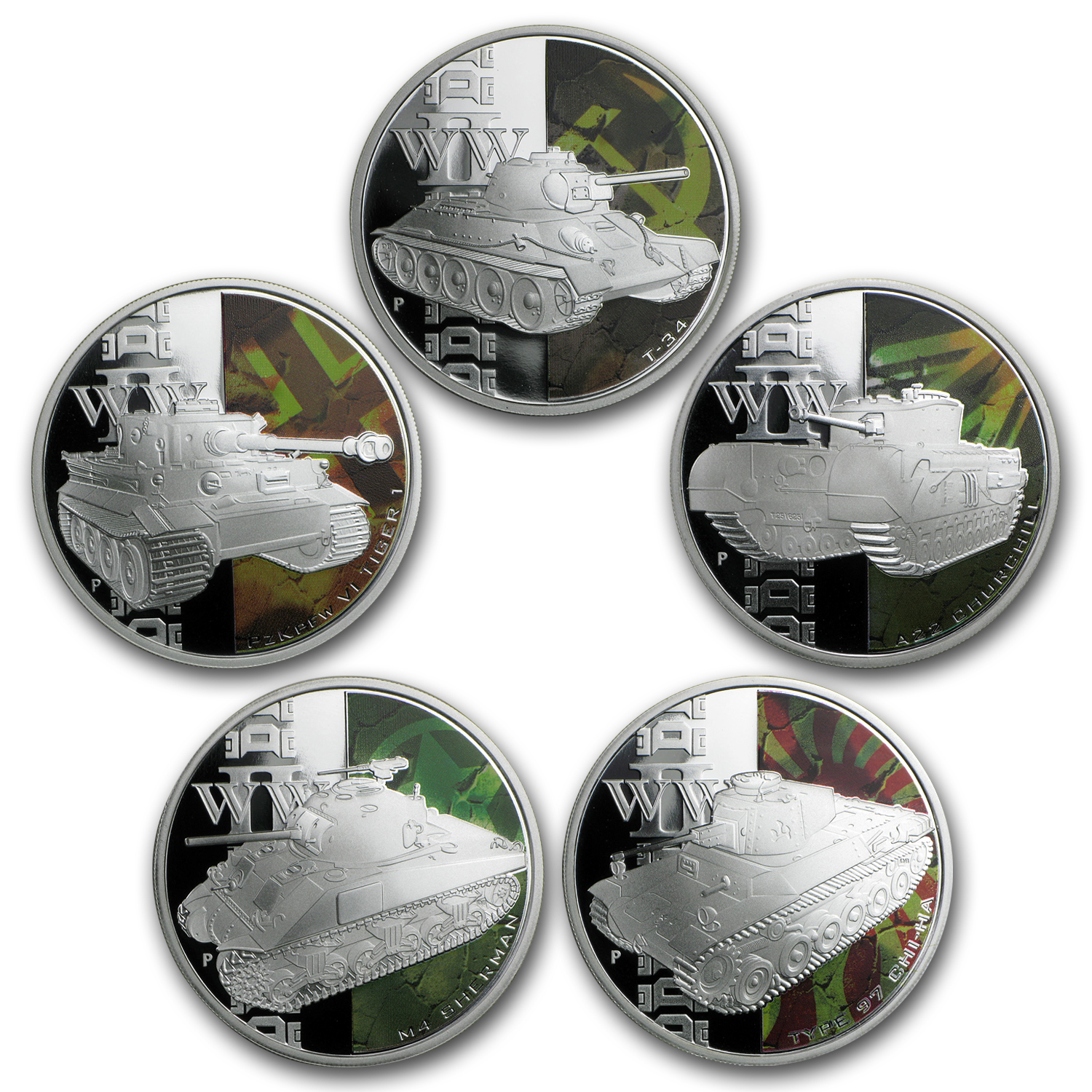 2010 1 oz Proof Silver- Tanks of WWII 5-coin Set
