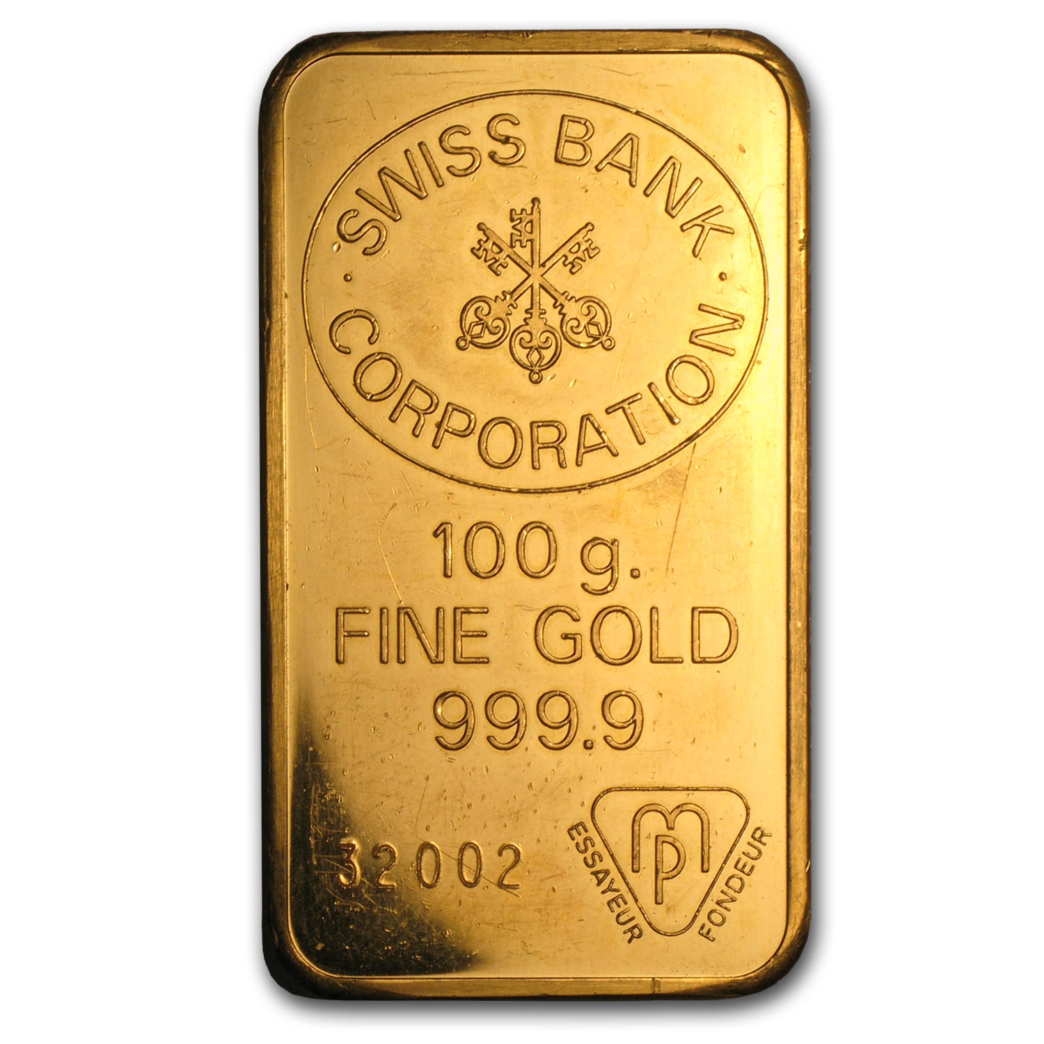 100 gram Gold Bar - Swiss Bank Corporation
