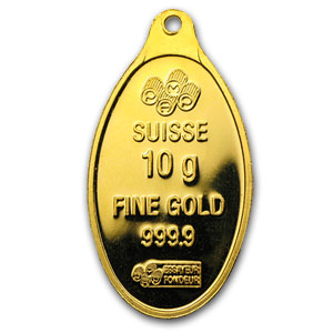 10 Gram Gold Oval Pamp Suisse W Jump Ring Molded At Top