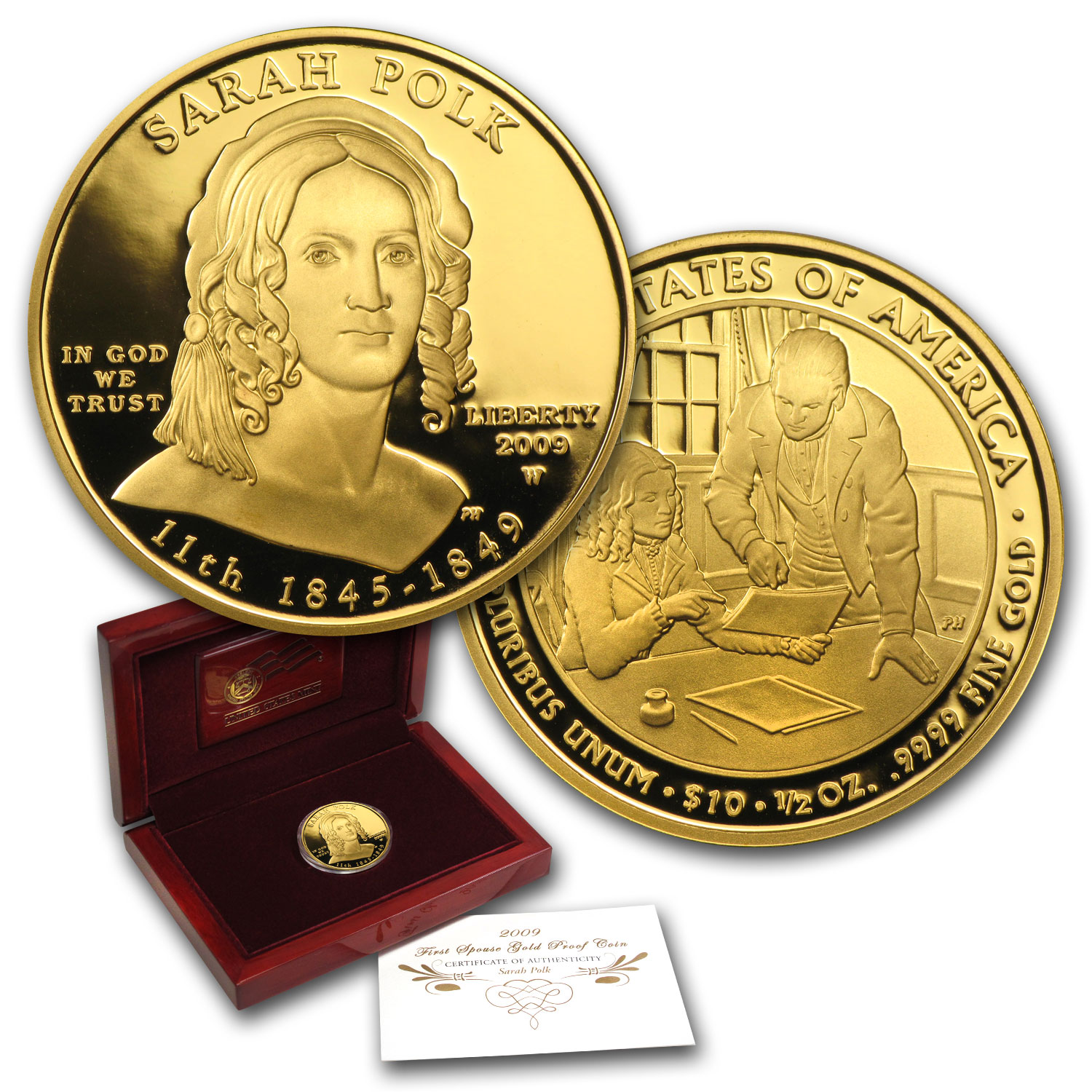 2009-W 1/2 oz Proof Gold Sarah Polk (W/Box & Coa)
