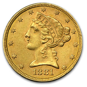 1881/81 $5 Liberty Gold Half Eagle AU (FS-304)