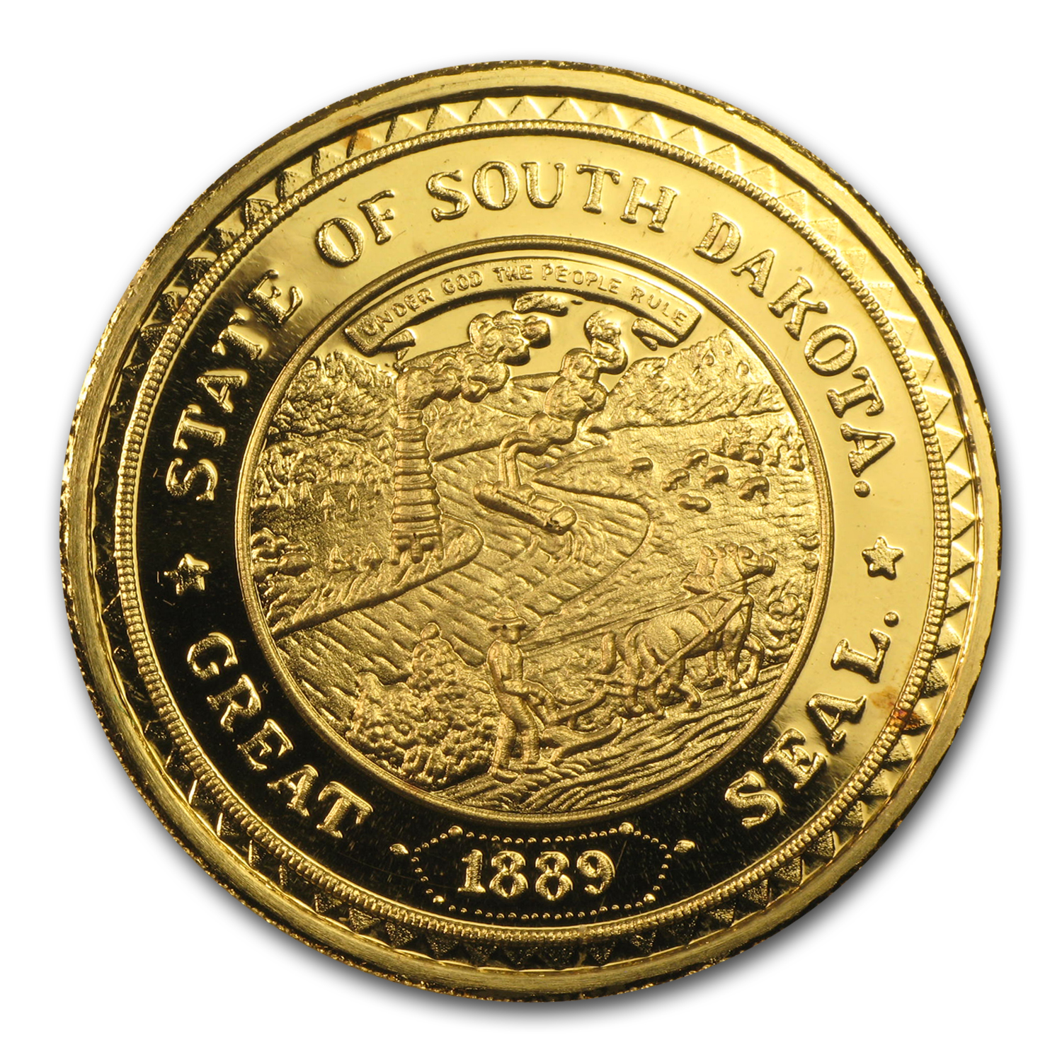 1 oz Gold Round - Great Seal of South Dakota