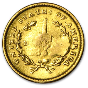 $1 Liberty Head Gold - Type 1 - (Heavily Damaged)
