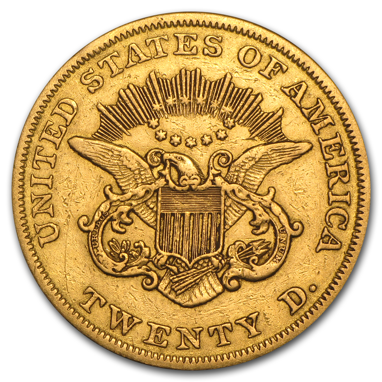 1850-1866 $20 Liberty Gold Double Eagle Type 1 (Cleaned)