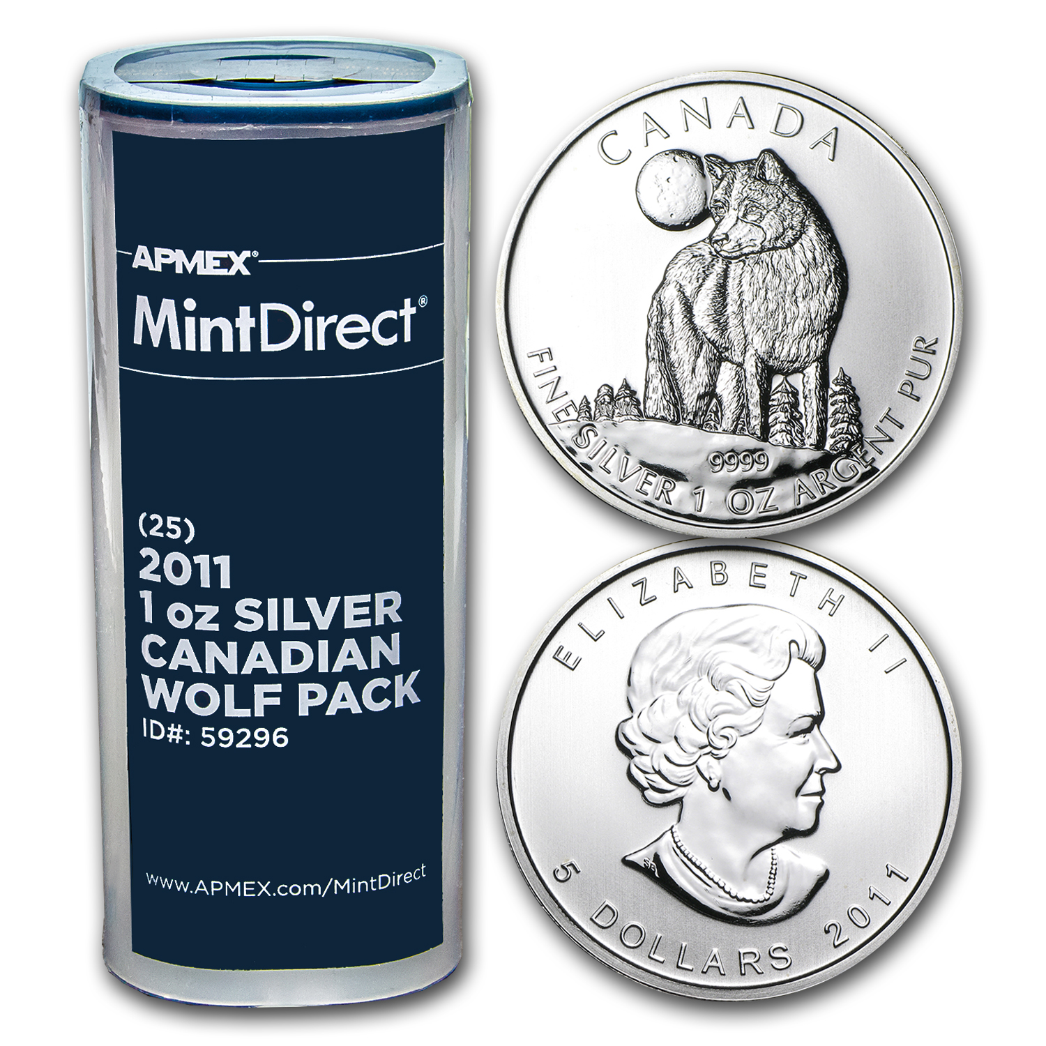 2011 Silver Canadian Wolf Pack (25-Coin MintDirect® Tube)