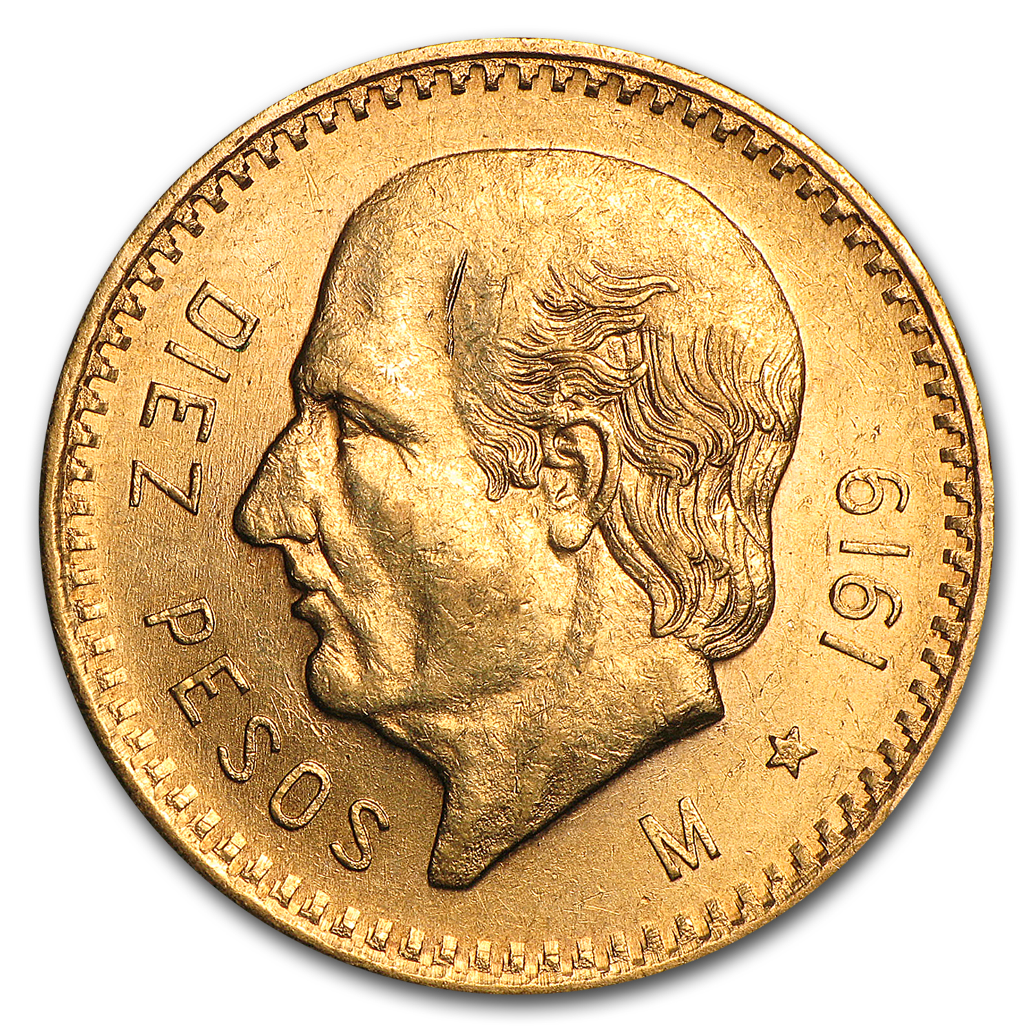 1919 Mexico Gold 10 Pesos AU