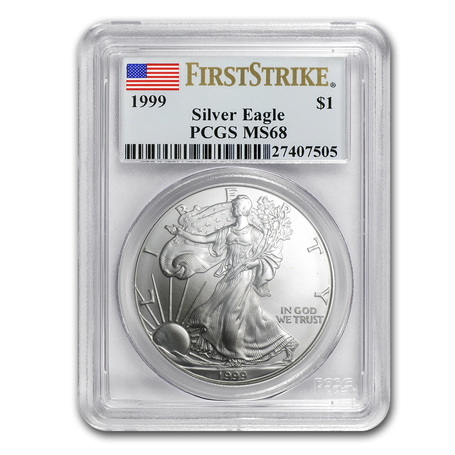 1999 Silver American Eagle MS-68 PCGS (First Strike)
