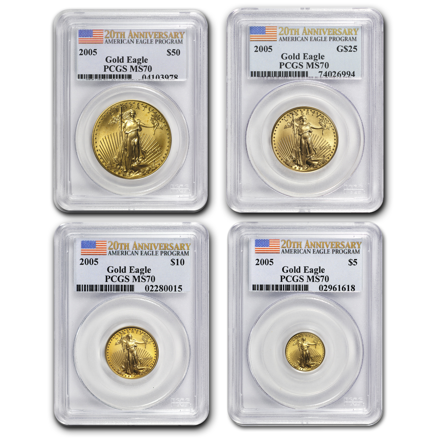 2005 4-Coin Gold American Eagle Set MS-70 PCGS (20th Anniv)