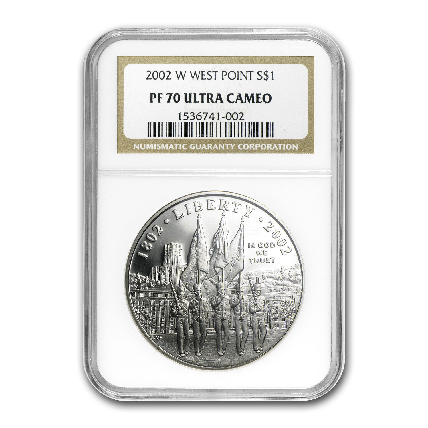 2002-W West Point Bicentennial $1 Silver Commem PF-70 UCAM NGC