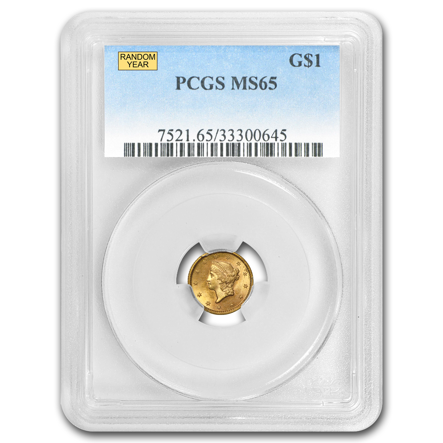 $1 Liberty Head Gold Type 1 MS-65 NGC/PCGS