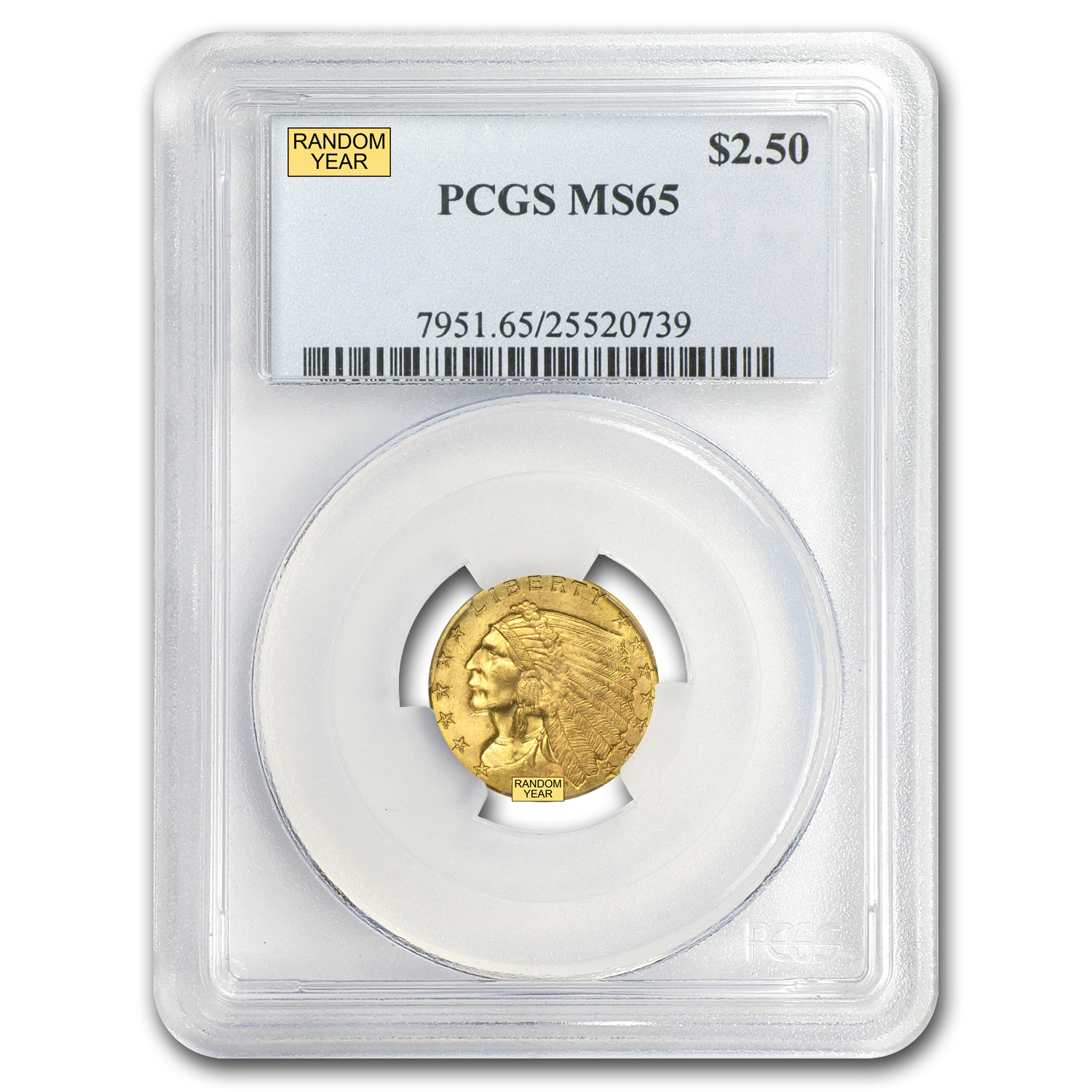 $2.50 Indian Gold Quarter Eagle - MS-65 NGC or PCGS