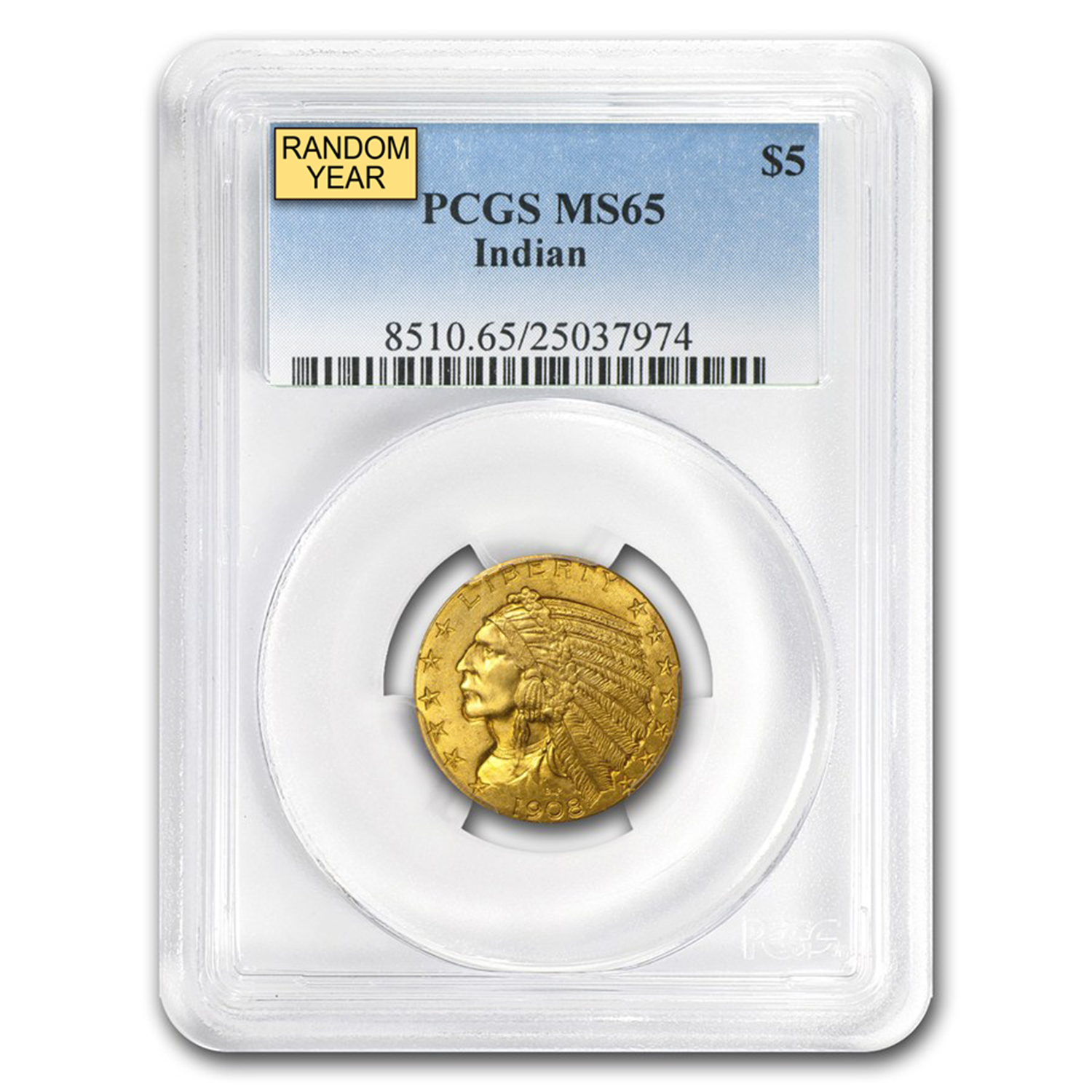 $5 Indian Gold Half Eagle - MS-65 PCGS