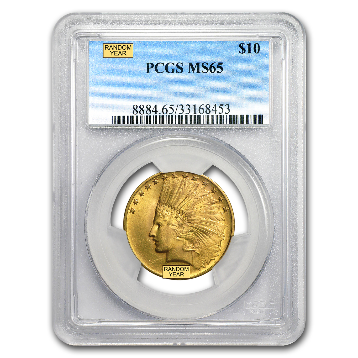 $10 Indian Gold Eagle MS-65 PCGS (Random)