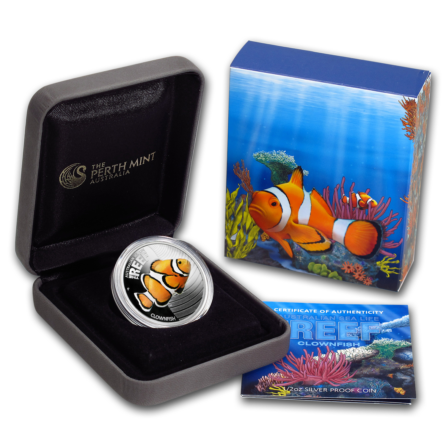 2010 1/2 oz Proof Silver Clownfish Coin - Sea Life I Series