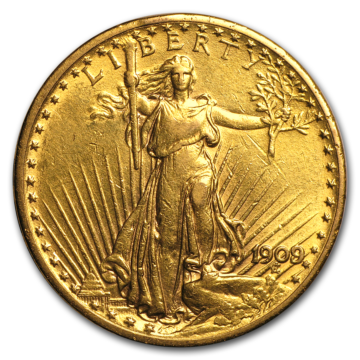 1909/8 $20 St. Gaudens Gold Double Eagle (Cleaned)