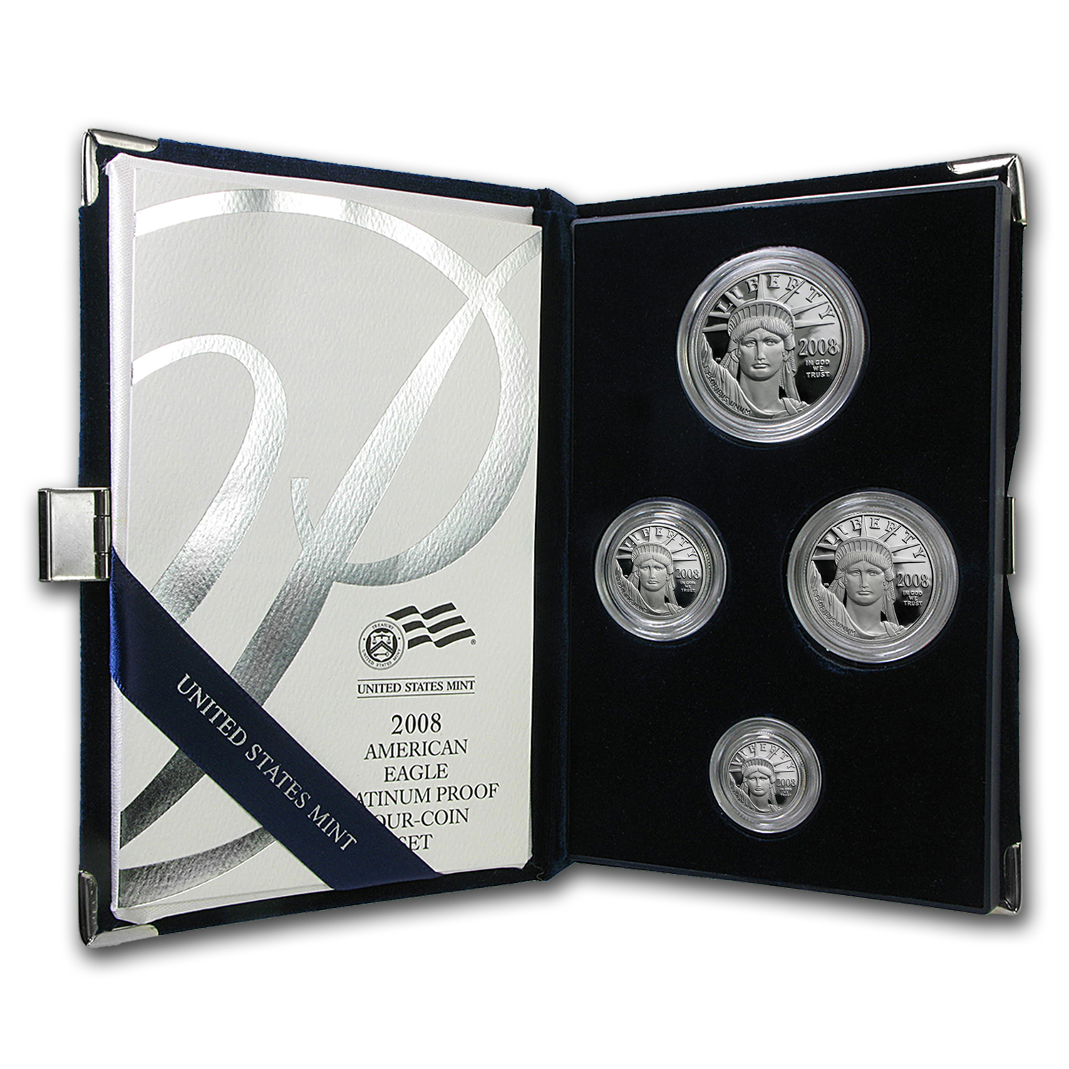 2008-W 4-Coin Proof Platinum American Eagle Set (w/Box & COA)