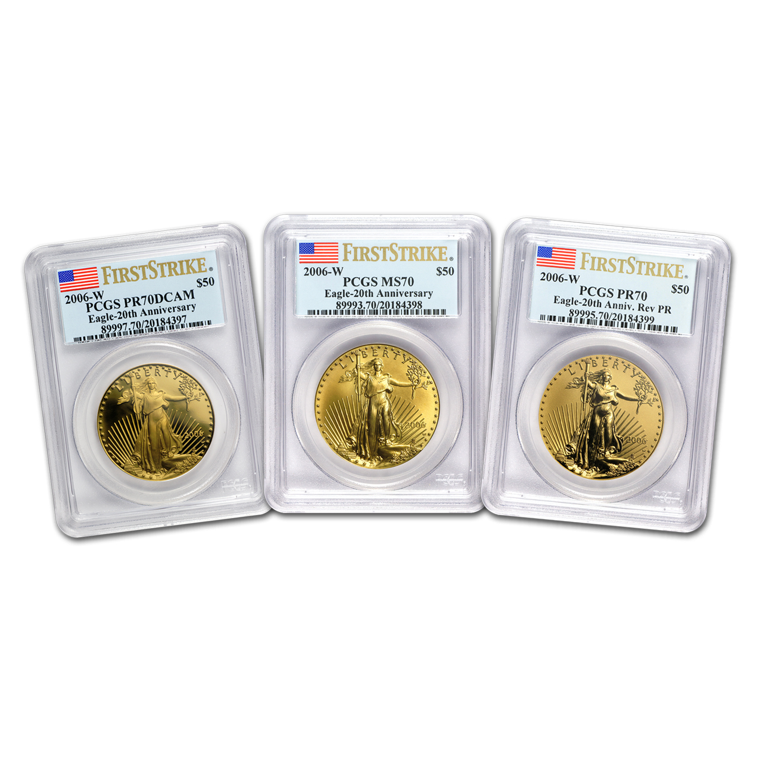 2006-W 3-Coin Gold Eagle Set MS/PR-70 PCGS (FS, Registry Set)