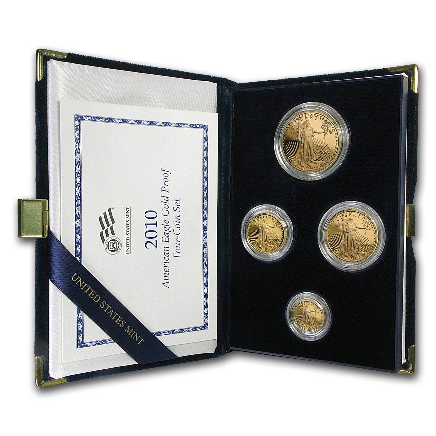 2010-W 4-Coin Proof Gold American Eagle Set (w/Box & COA)