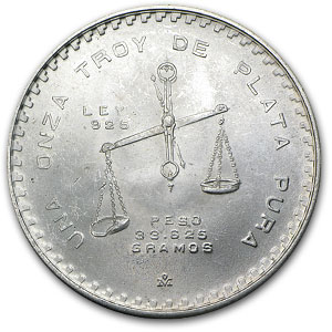 1978 1 oz Silver Mexican Onza Balance Scale (AU or Better)