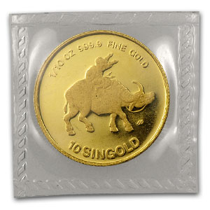 1985 Singapore 1/10 oz Proof Gold 10 Singold Ox