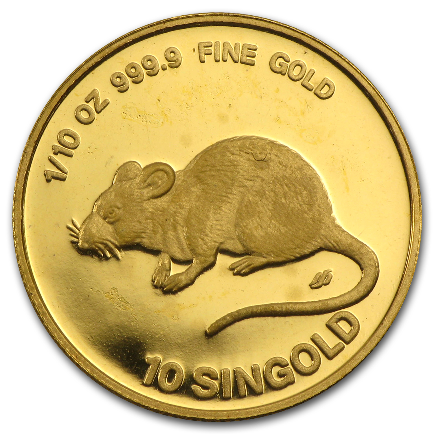 1984 Singapore 1/10 oz Proof Gold 10 Singold Year of the Rat
