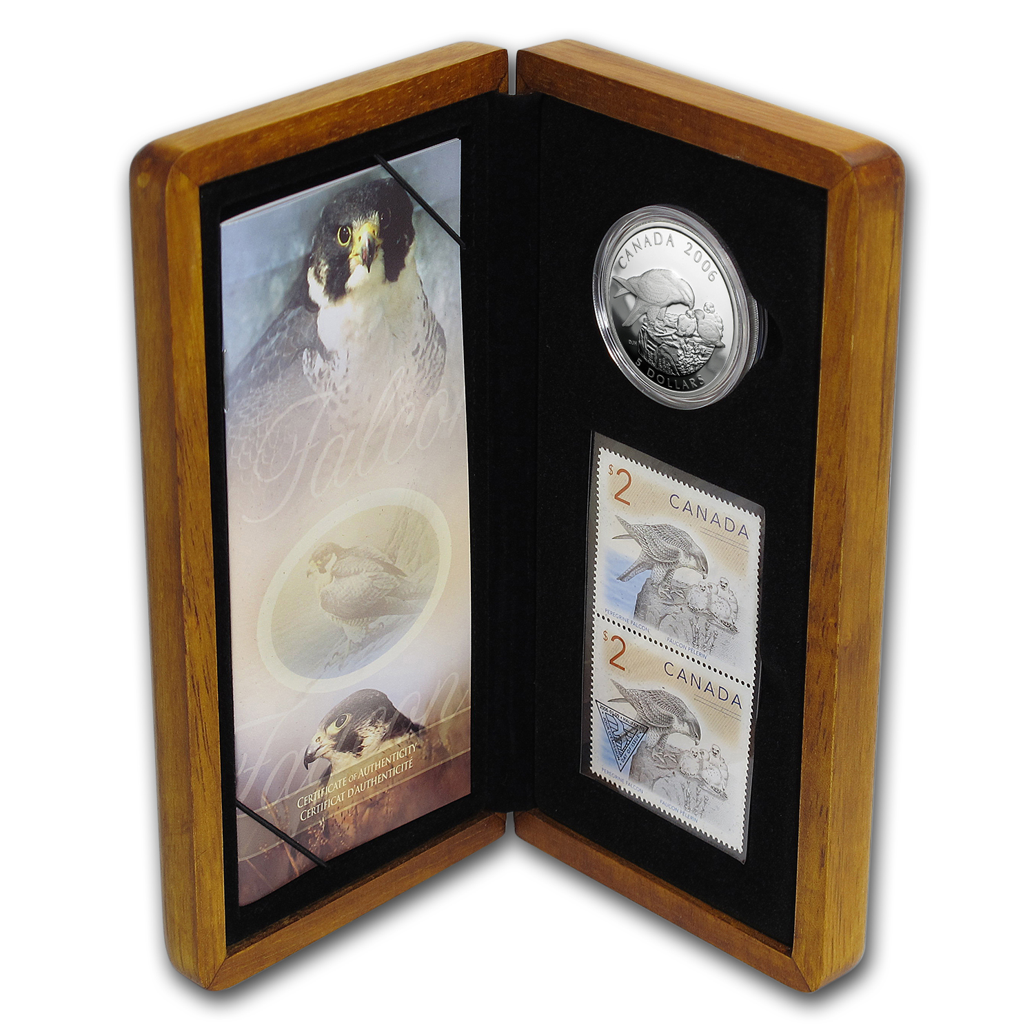 2006 Canada 1 oz Silver Peregrine Falcon Coin and Stamp Set