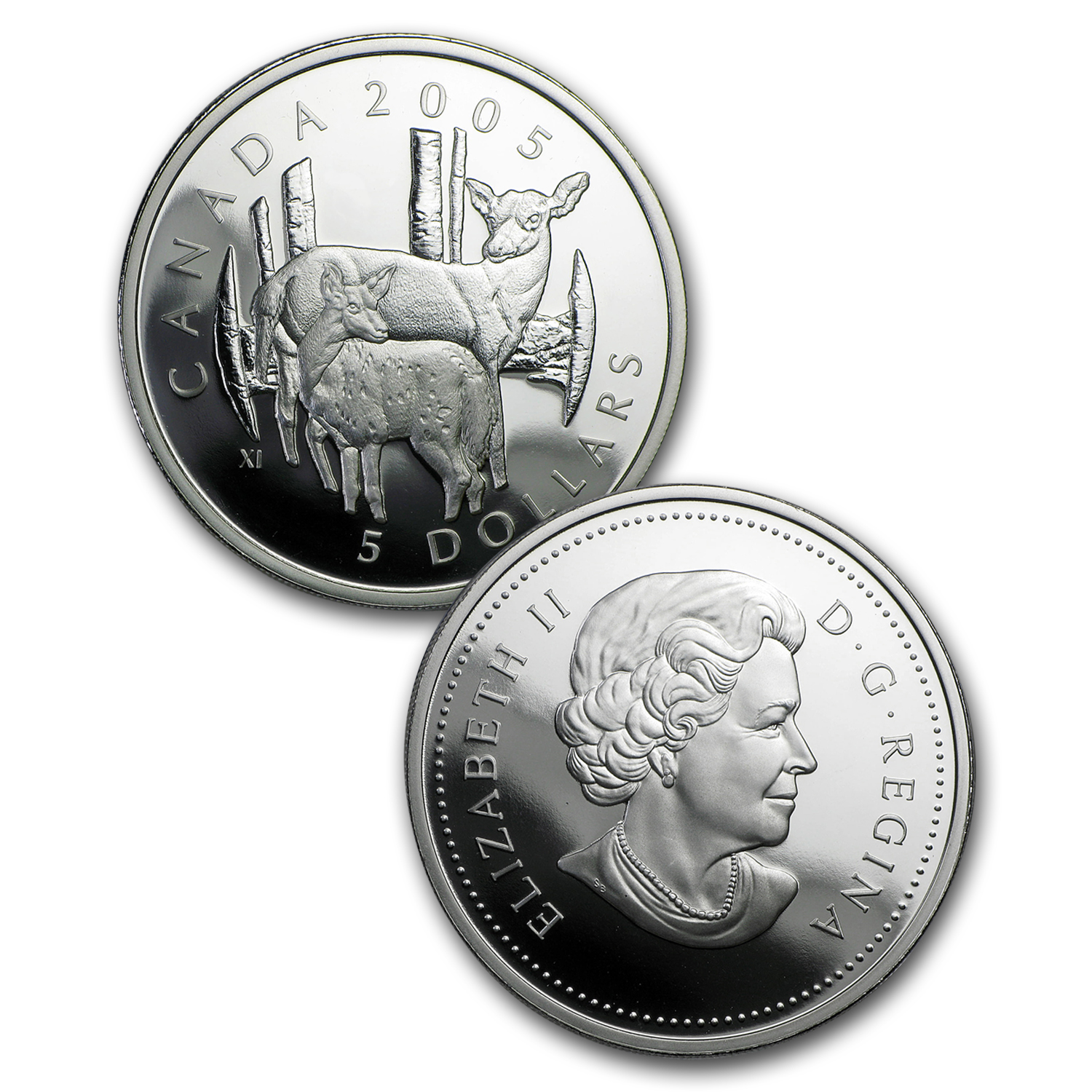 2005 1 oz Silver Canadian White Tailed Deer Coin and Stamp Set