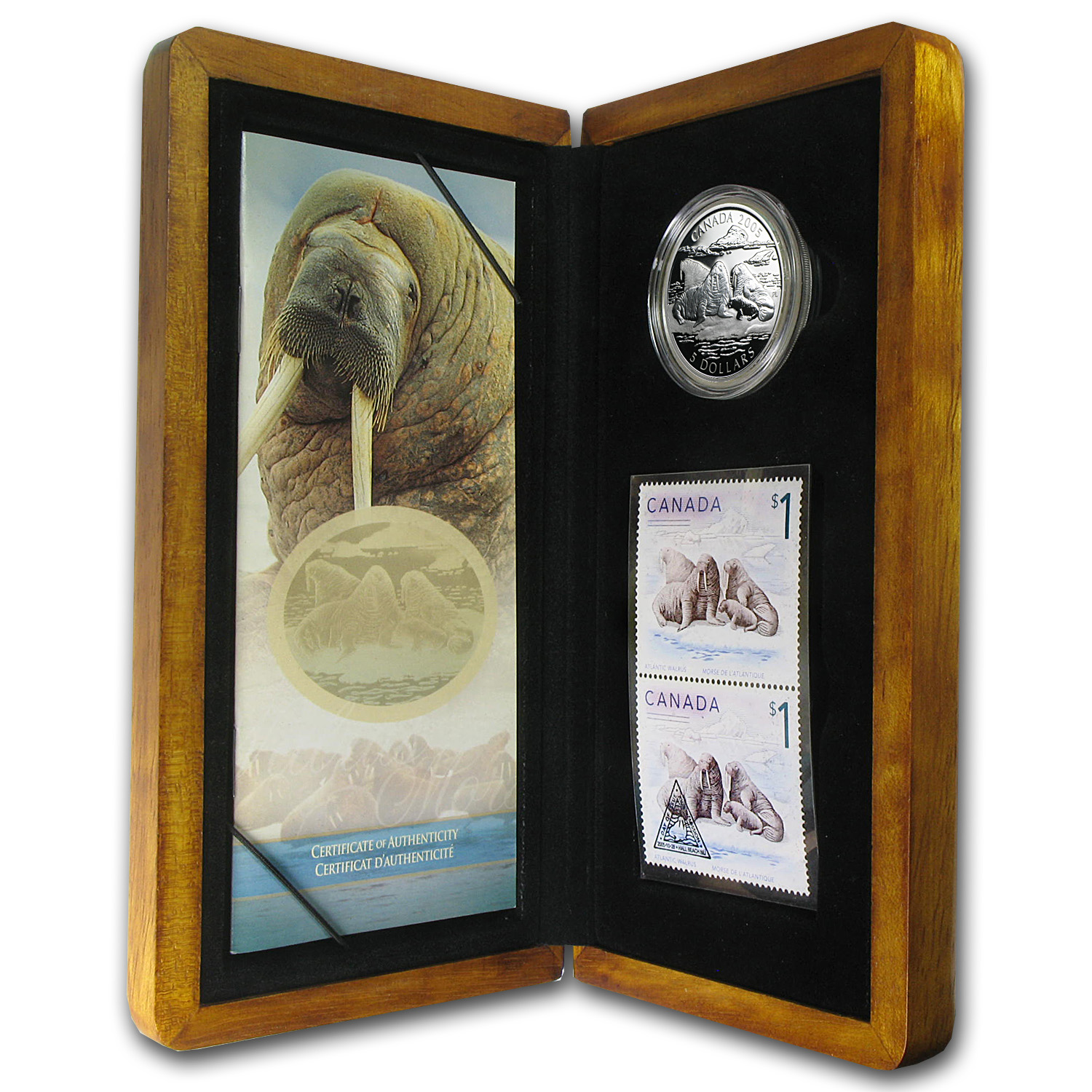 2005 Canada 1 oz Silver Walrus and Calf Coin & Stamp Set