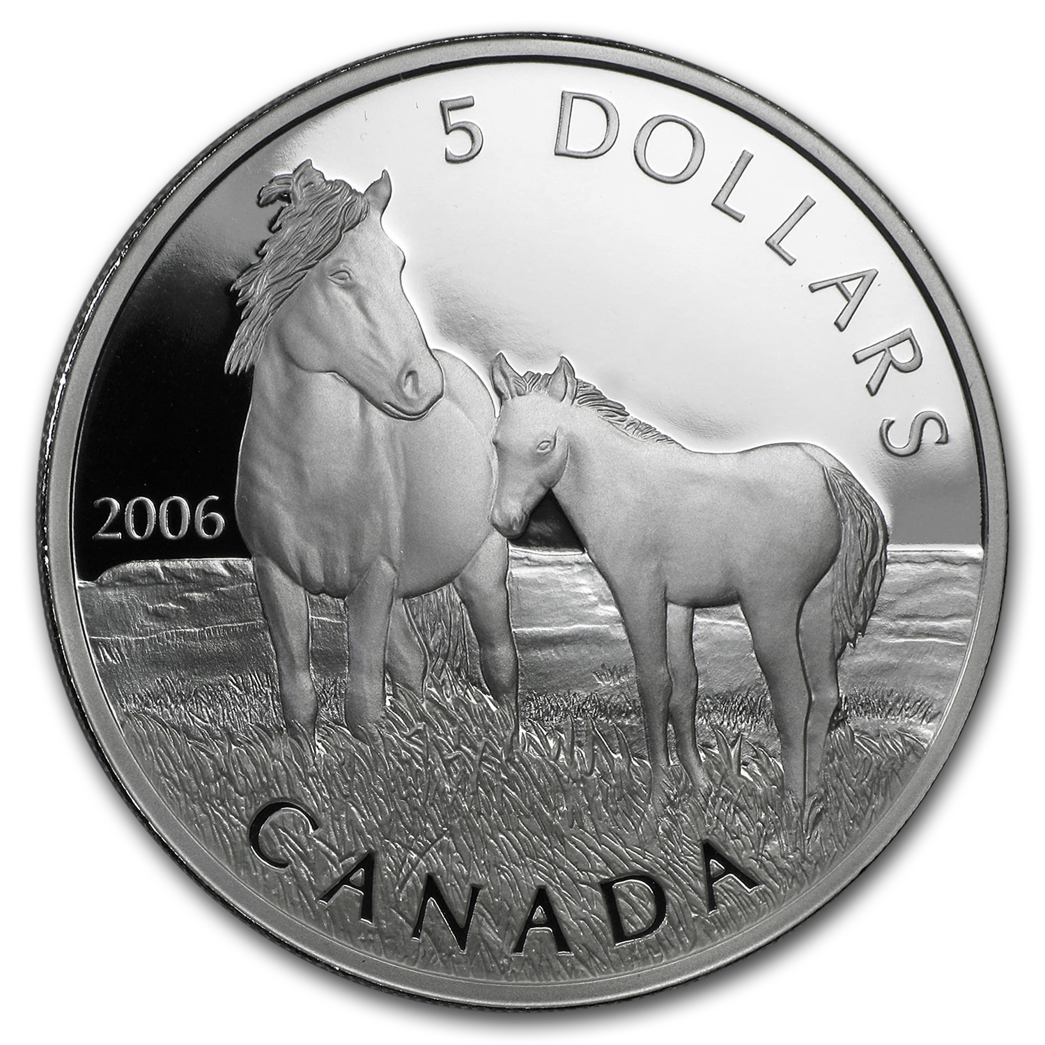 2006 1 oz Silver Canadian Sable Horse & Foal Coin and Stamp Set