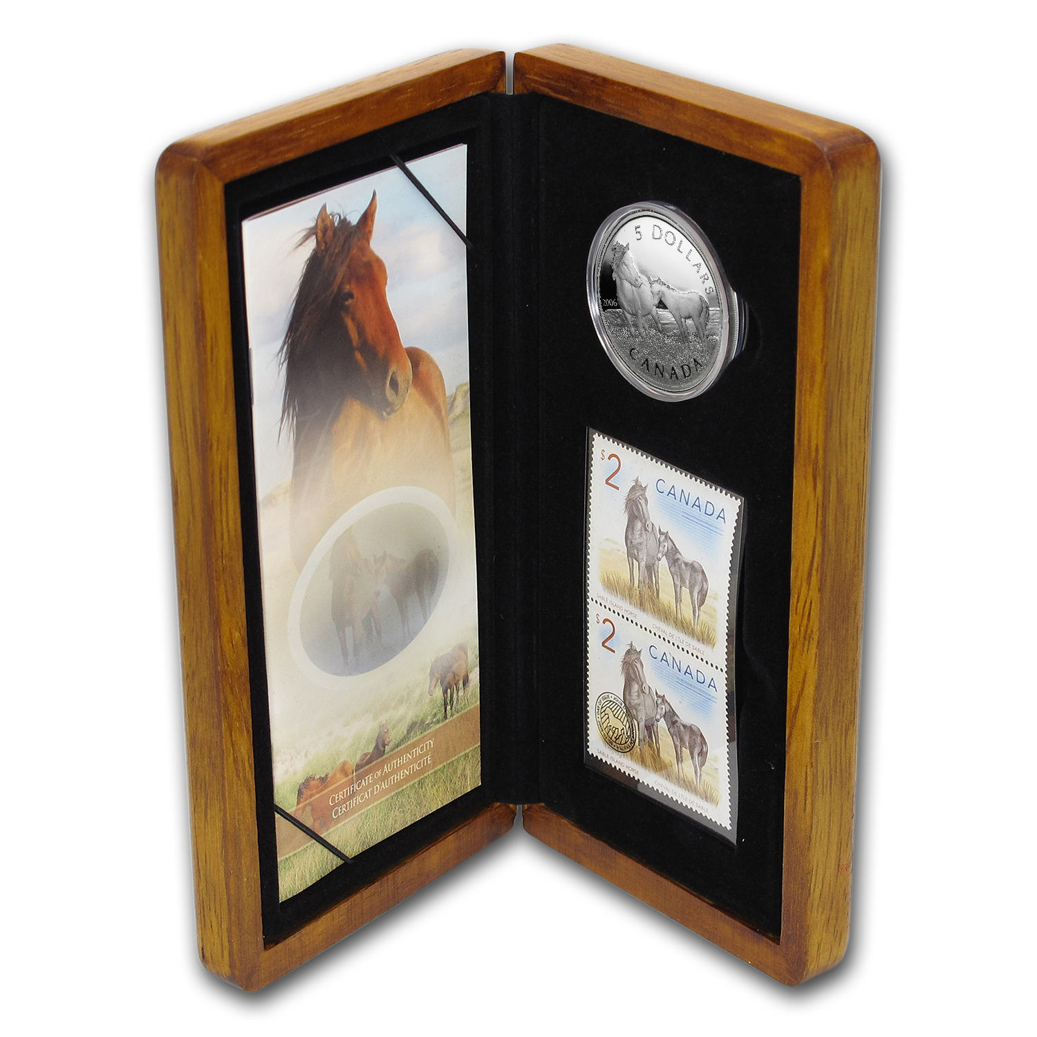 2006 Canada 1 oz Silver Sable Horse & Foal Coin & Stamp Set