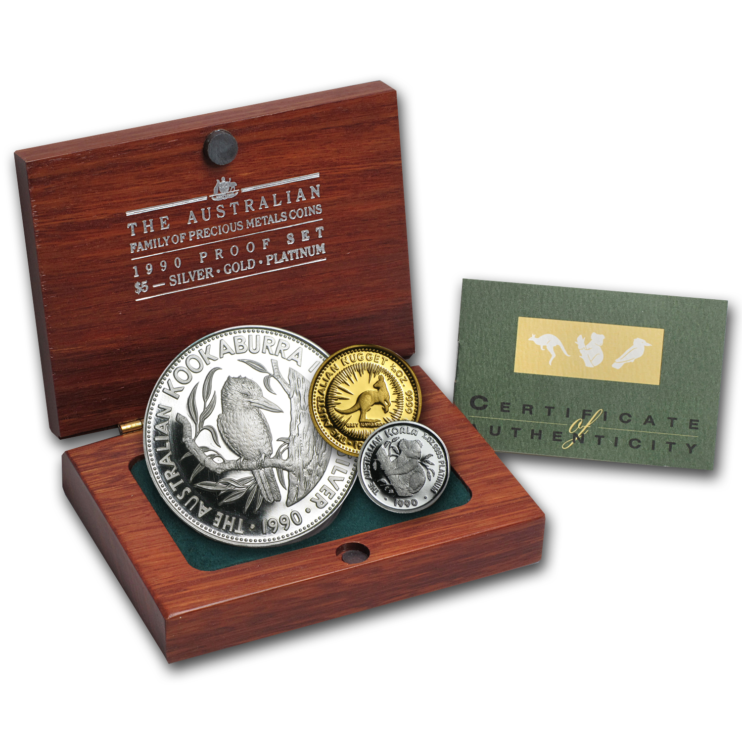 1990 Australia 3-Coin Family of Precious Metals Proof Set (Box)